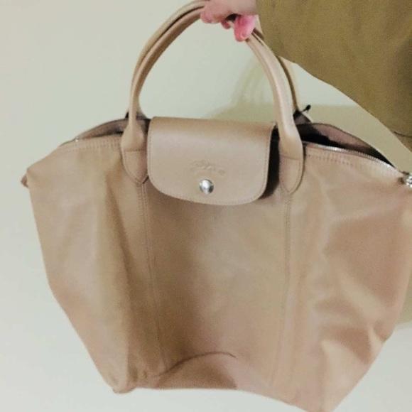 Longchamp medium le pliage cuir leather bag
